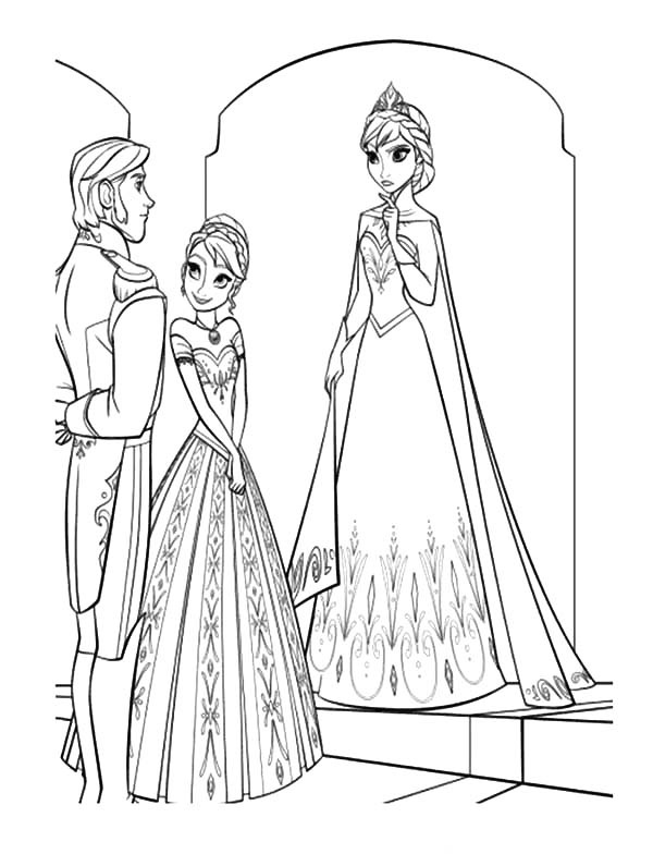 Princess Anna Introduse Prince Hans To Queen Elsa Coloring