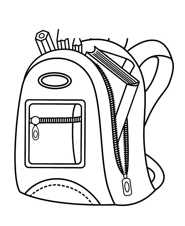 Backpack Coloring Pages Books Sketch Coloring Page