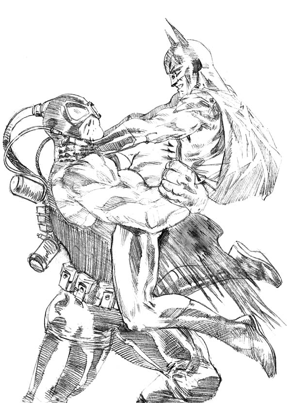 Sketch Bane Batman Fighting Coloring Pages : Best Place to