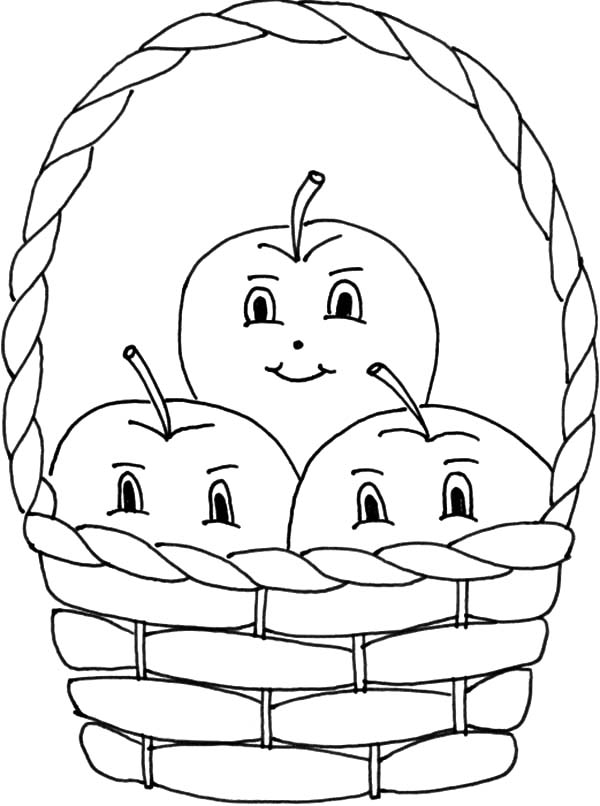 Three Apple Smile inside Apple Basket Coloring Pages