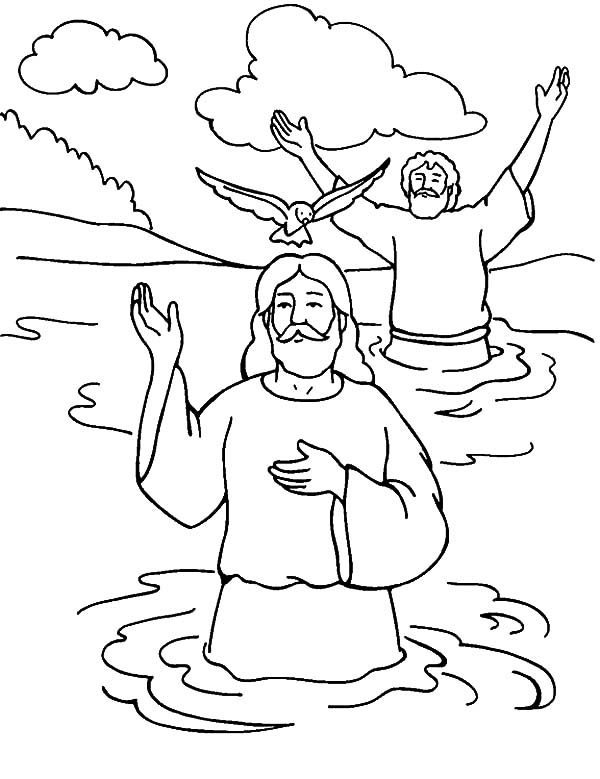 Welcoming Holy Spirit in Baptism of Jesus Coloring Pages