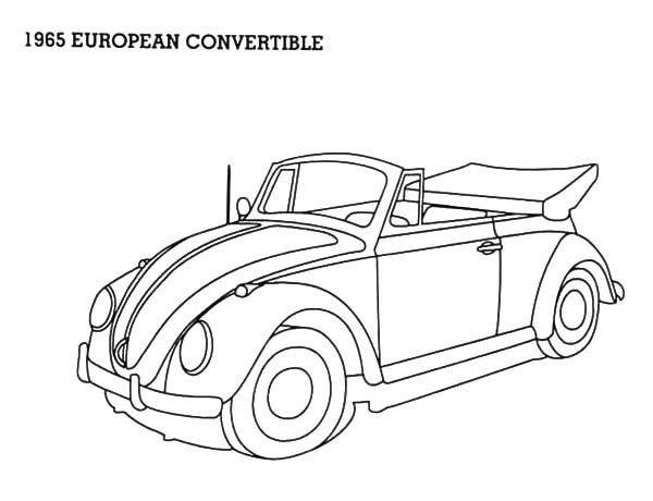 1965 European Convertible Beetle Car Coloring Pages: 1965