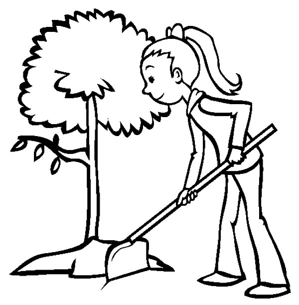 A Girl Plant a Tree on Arbor Day Coloring Pages: A Girl