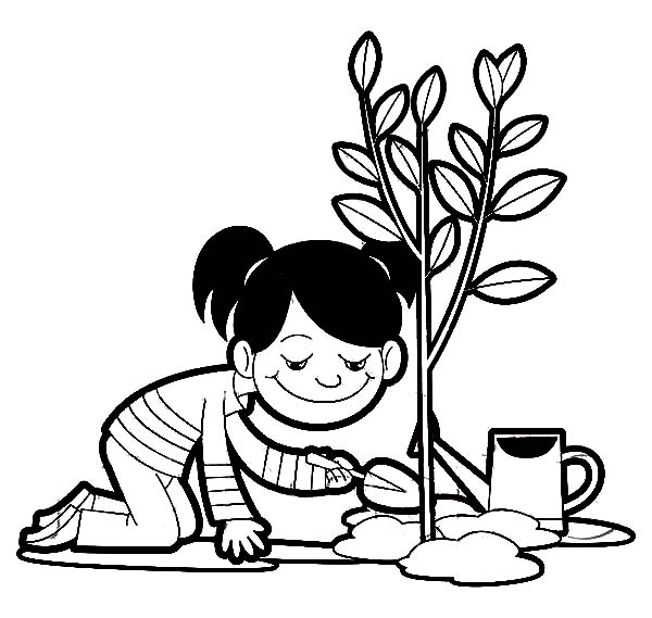 A Girl Planting A Tree On Arbor Day Coloring Pages : Best