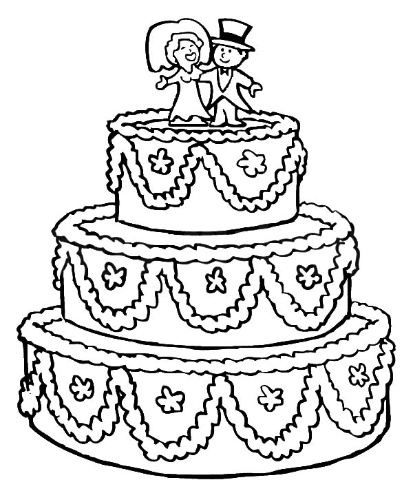 Beautifully Decorated Wedding Cake Coloring Pages : Best