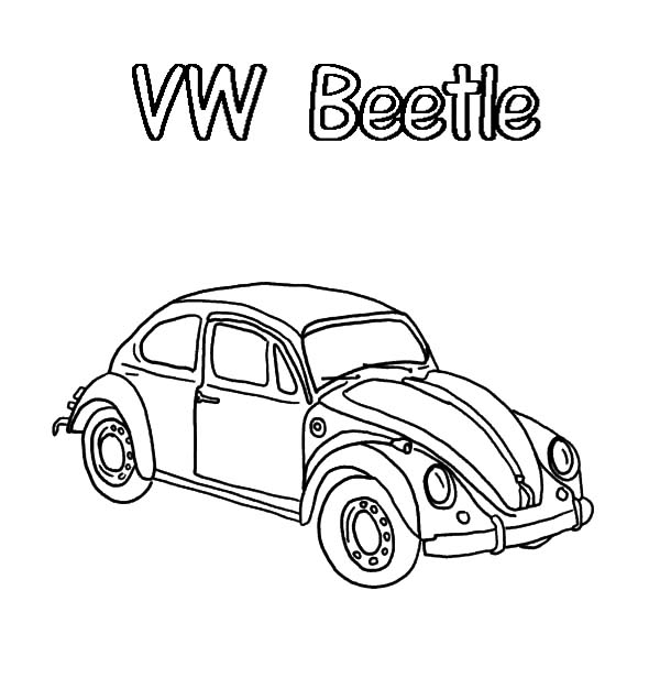 Beetle Car Volkswagen Coloring Pages: Beetle Car