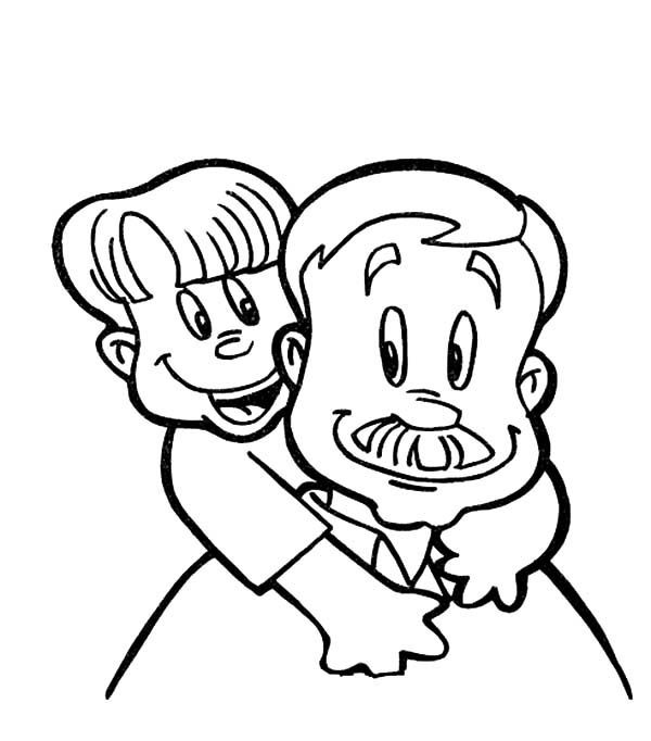 Best Dad Carrying His Boy on His Back Coloring Pages