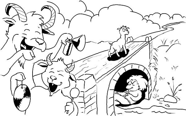 Billy the Goat is Happy Passing the Bridge Coloring Pages