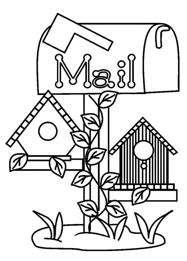 Bird House Under Mail Box Coloring Pages : Best Place to Color