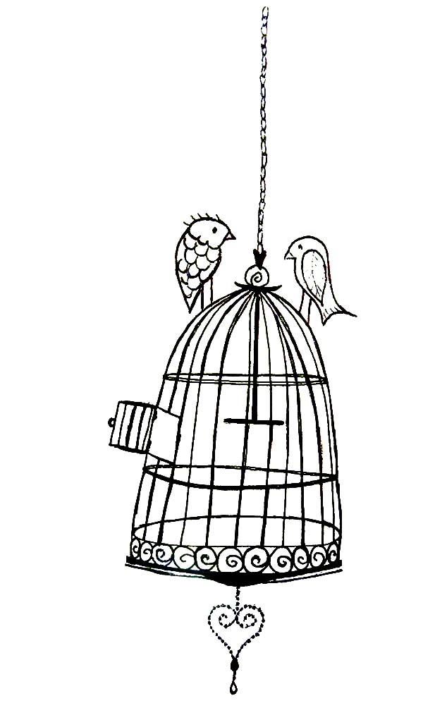 Birds Dating On Bird Cage Coloring Pages : Best Place to Color