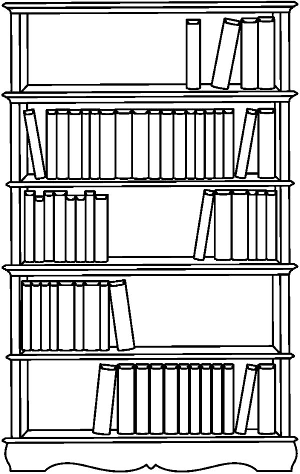 Bookshelf Picture Coloring Pages : Best Place to Color
