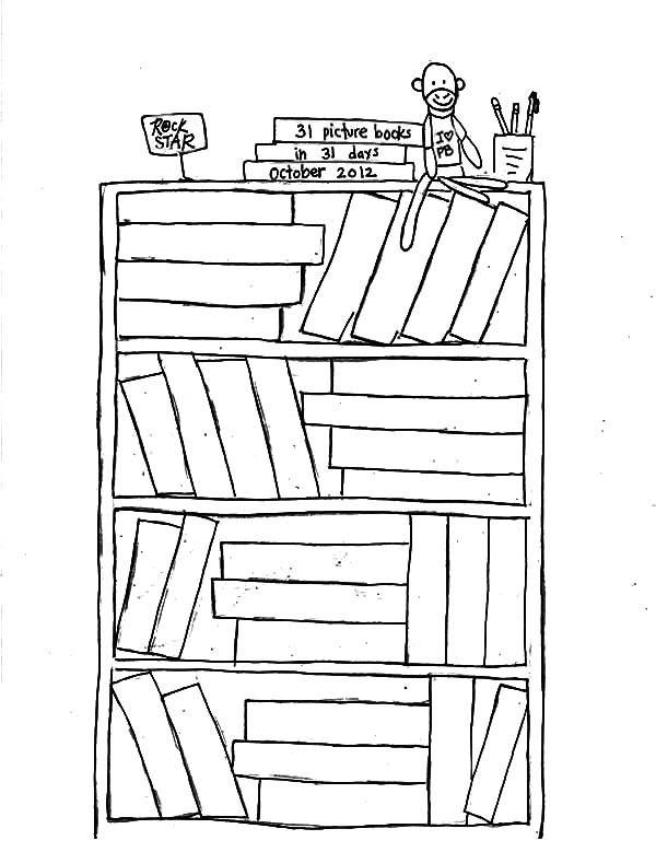 Bookshelf In My Room Coloring Pages : Best Place to Color