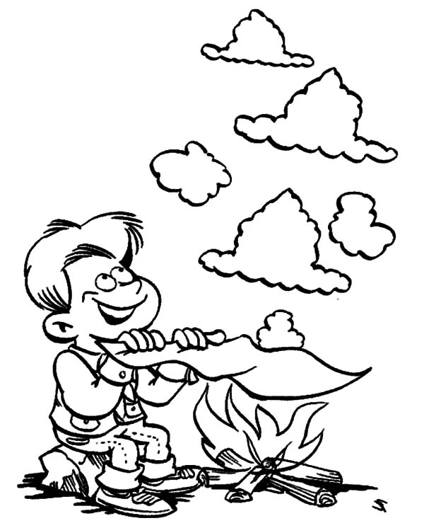 Boy Scouts Making Smoke Sign Coloring Pages : Best Place