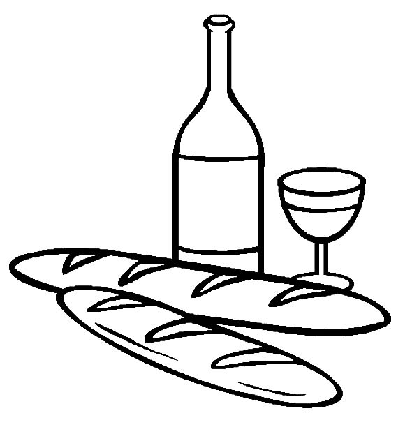 Bread and Wine Coloring Pages: Bread and Wine Coloring