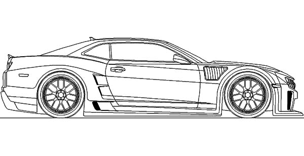 Bumblebee Car Chevy Camaro Coloring Pages: Bumblebee Car