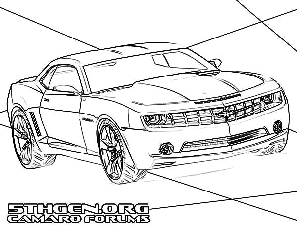 Bumblebee Car Muscle Camaro Car Coloring Pages : Best