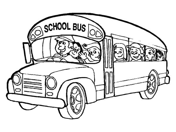 Bus Driver Bring All Student to School Coloring Pages