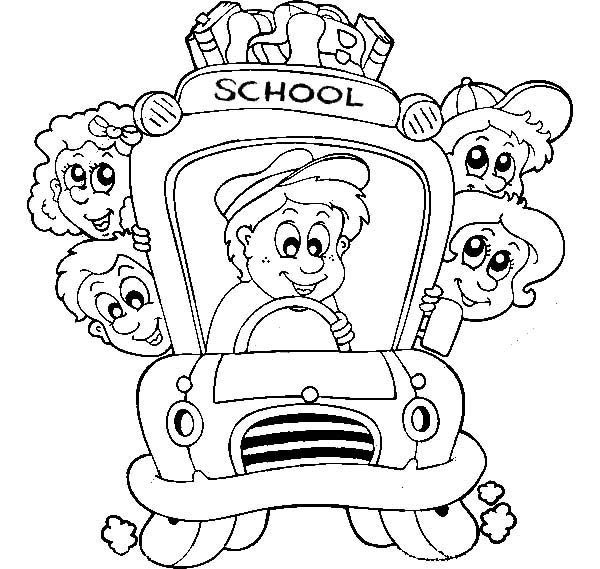 Bus Driver Driving Children to School Coloring Pages