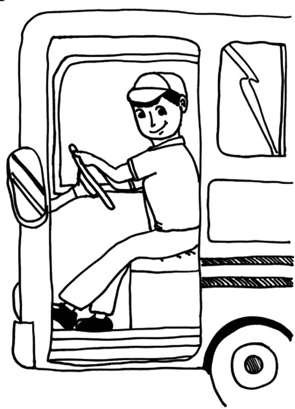 Bus Driver Open Bus Door Coloring Pages: Bus Driver Open