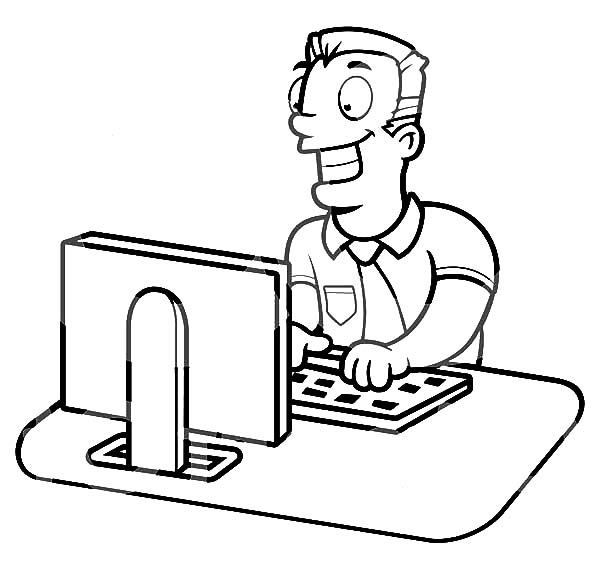 Businessman Working on a Computer Coloring Pages