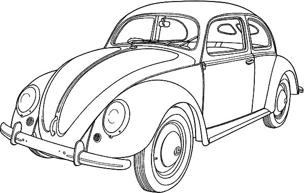 Classic Car Collector Beetle Car Coloring Pages: Classic