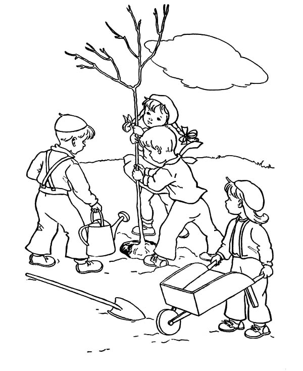 Group of Childrens Plant a Tree on Arbor Day Coloring