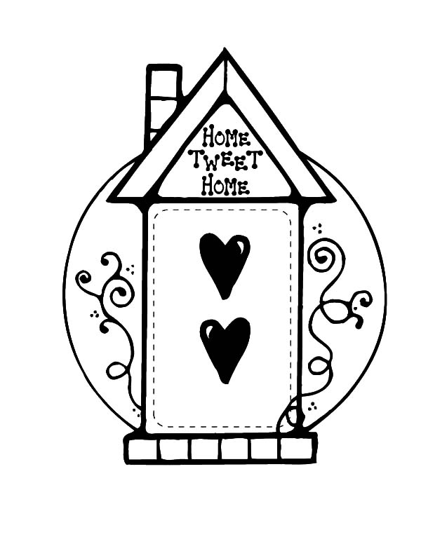Home Sweet Home Bird House Coloring Pages : Best Place to