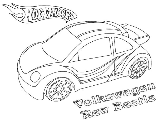Hot Wheels Volkswagen New Beetle Car Coloring Pages: Hot