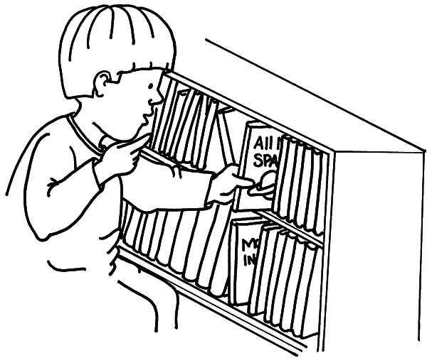 Kid Put Back Book In Bookshelf Coloring Pages : Best Place