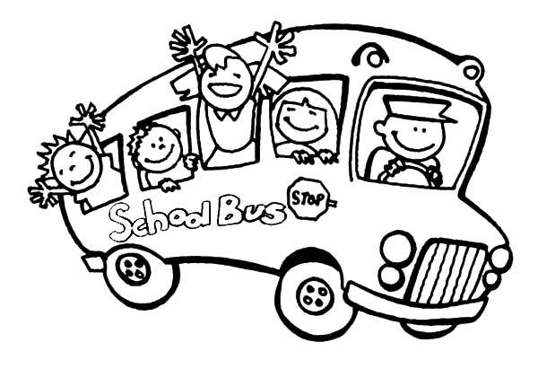 Kids Waving Hand Bus Driver Coloring Pages : Best Place to