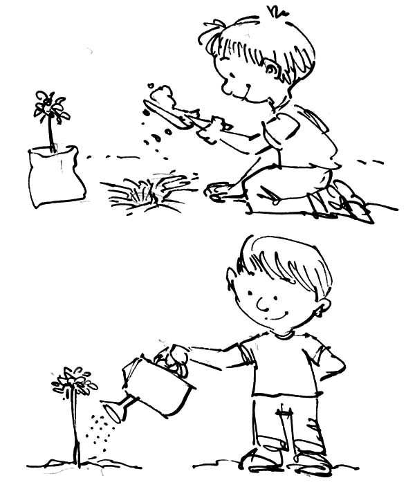 Plant And Watering Tree On Arbor Day Coloring Pages : Best Place to Color