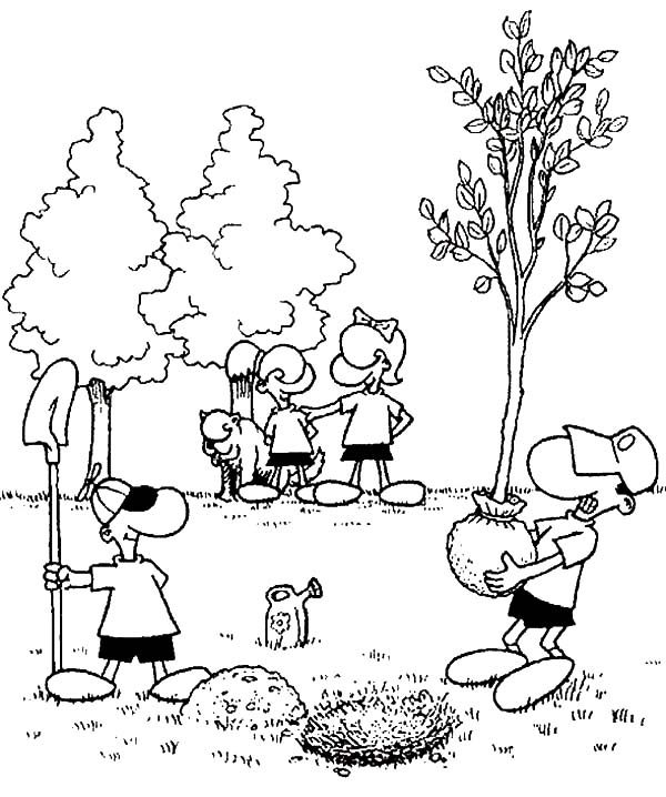 Planting Trees in the Garden on Arbor Day Coloring Pages