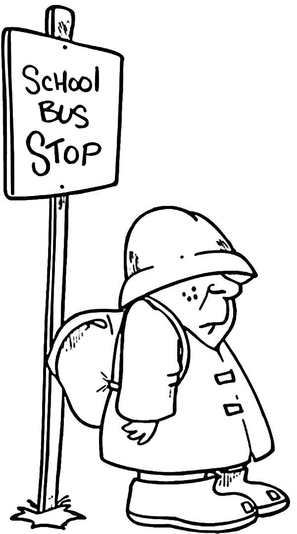 Student Waiting At School Bus Stop Coloring Pages : Best