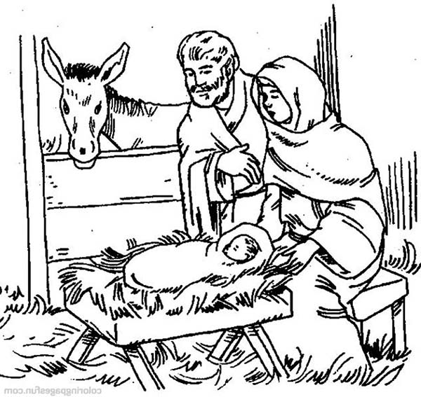 The Birth Of Jesus Bible Christmas Story Coloring Pages