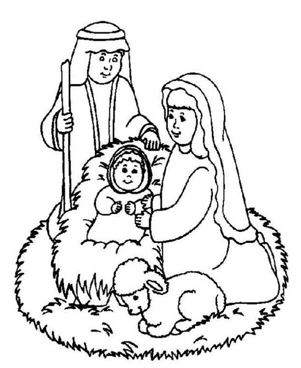 The Born of Jesus Christ Bible Christmas Story Coloring