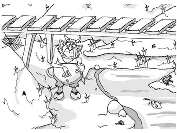 Troll Under The Bridge Waiting For Billy The Goat Coloring
