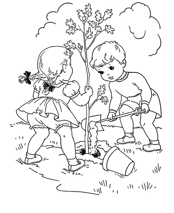 Two Little Kids Grow A Tree On Arbor Day Coloring Pages