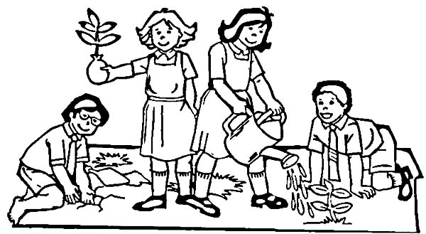 Volunteer Planting Trees for Arbor Day Coloring Pages