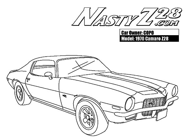 1970 Camaro Cars Z28 Coloring Pages: 1970 Camaro Cars Z28