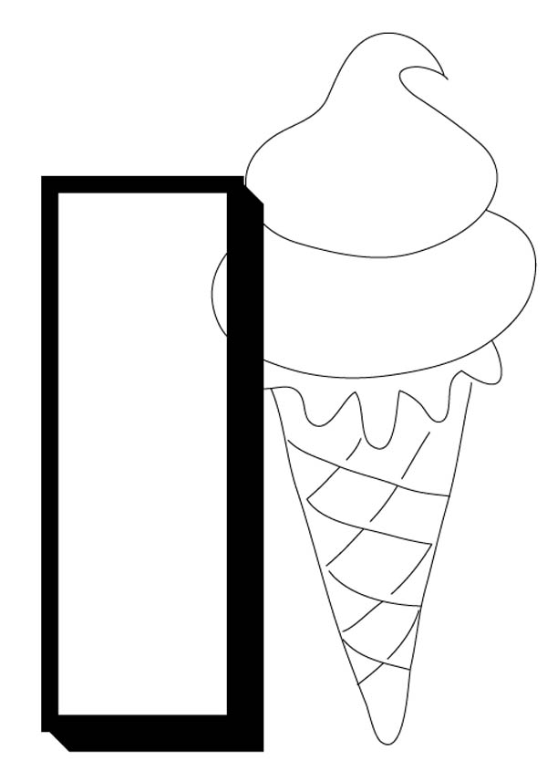 Alphabet Letter I for Ice Cream Coloring Page: Alphabet