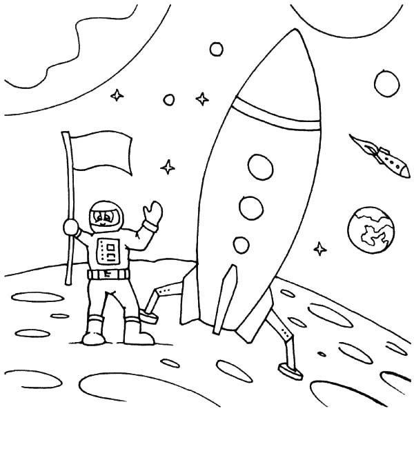Astronaut Land On Moon Space Travel Coloring Pages