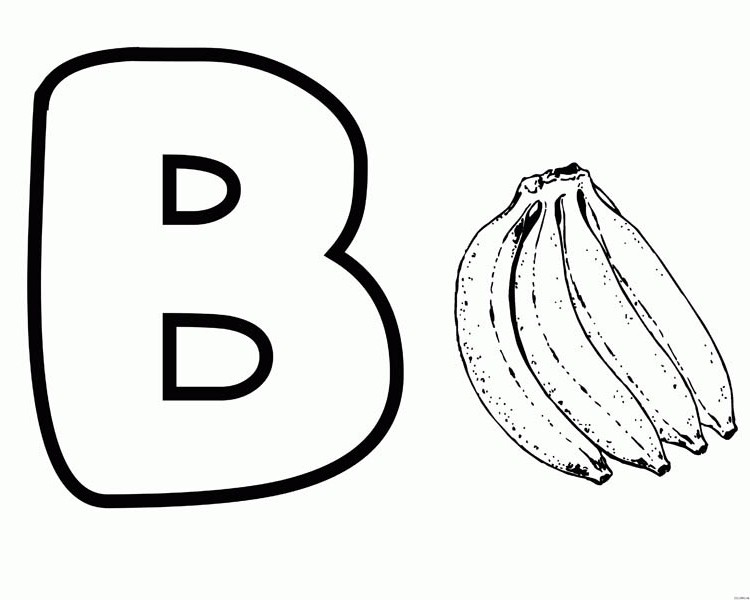 B for Banana on Letter B Coloring Page: B for Banana on