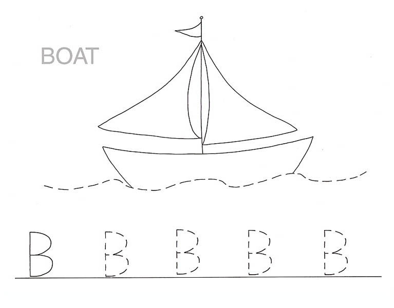 Boat Is For Letter B Coloring Page: Boat is for Letter B