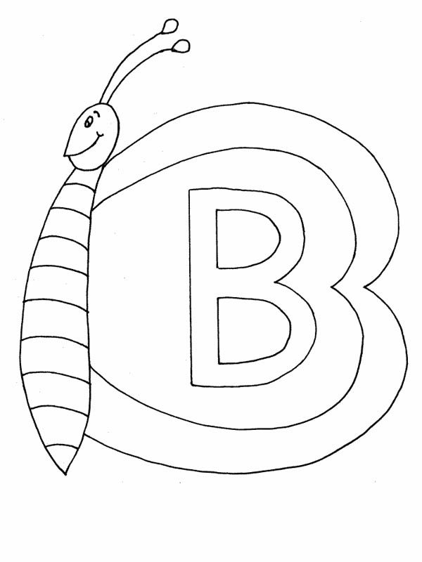Butterfly on Letter B Coloring Page for Preschool Kids