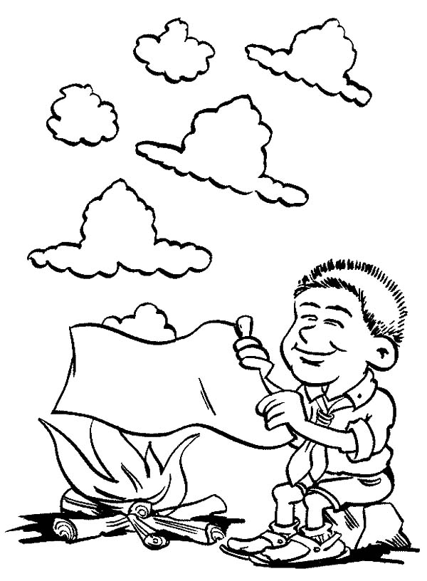 Learning Smoke Sign In Scouting Coloring Pages : Best