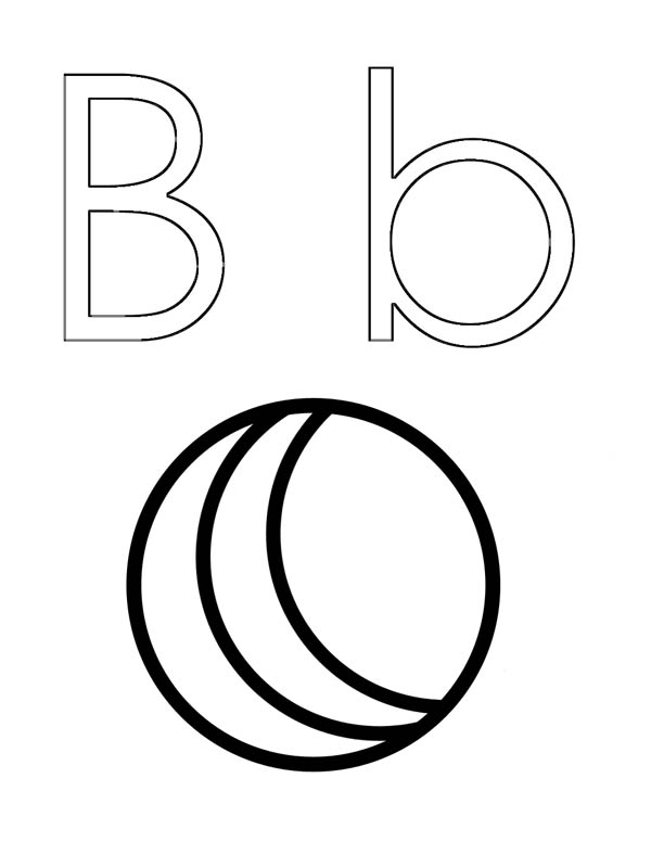 Letter B Outline Coloring Page: Letter B Outline Coloring