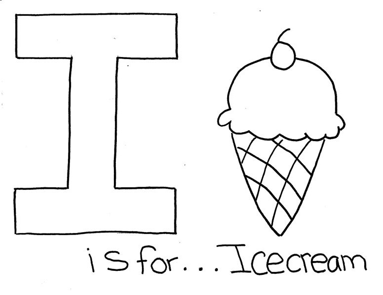 Letter I is for Ice Cream Coloring Page: Letter I is for
