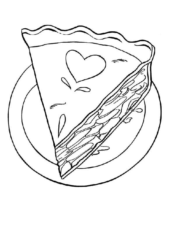 Love Decorated Cake Slice Coloring Pages: Love Decorated
