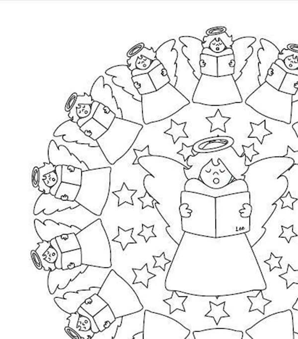 Mandala Christmas Singing Angels Coloring Pages : Best