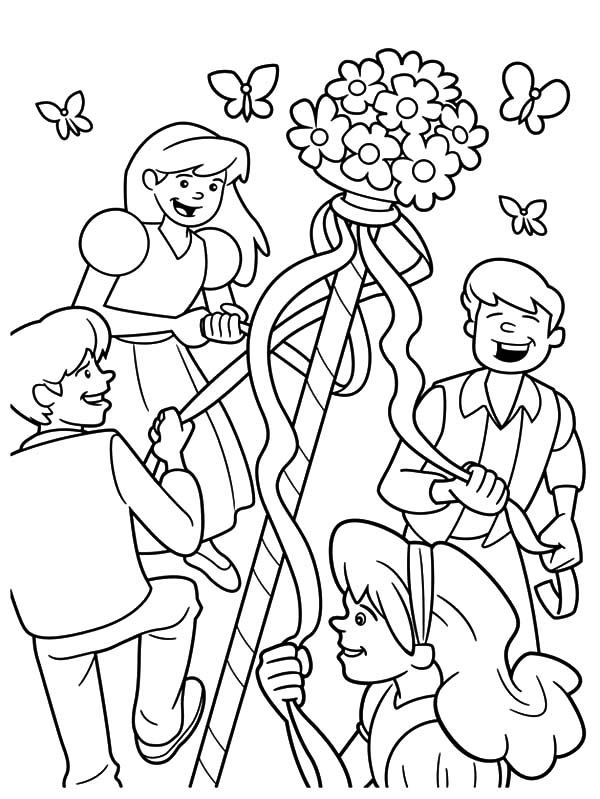 Maypole Dancing Happily With Friends On May Day Coloring